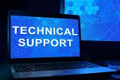 picture of helpdesk  - Computer with words technical support - JPG