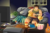 picture of couch potato  - A vector illustration of lazy man eating potato chips and watching TV - JPG