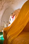 stock photo of recliner  - Huge Reclining Buddha Image at Manuha Pagoda - JPG