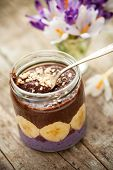 picture of vegan  - delicious paleo and vegan cocoa porridge with banana and almonds - JPG