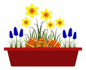 picture of planters  - vector spring flowers and easter eggs in planter isolated on white background - JPG