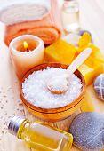 picture of salt-bowl  - sea salt on a table sea salt for bath - JPG