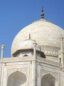 stock photo of mausoleum  - Iconic perspective angle of the Taj Mahal mausoleum in Agra - JPG