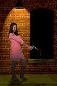 stock photo of handguns  - Beautiful woman with a loaded handgun pistol - JPG