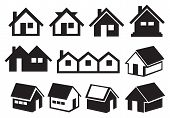 stock photo of gable-roof  - Vector illustration of different pitched roof houses in black and white - JPG