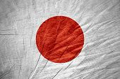stock photo of japanese flag  - Japan flag or Japanese banner on wooden texture - JPG