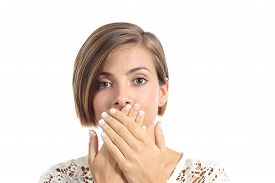 foto of shy woman  - Woman covering her mouth because bad breath isolated on a white background - JPG