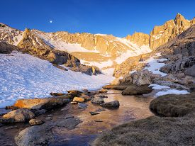 stock photo of mt whitney  - Sunrise over Mt Whitney - High Camp