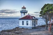 foto of orca  - The Lime Kiln Point Lighthouse watc hes over Haro Strait and the Straits of Juan de Fuca - JPG