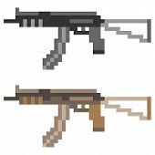 foto of sub-machine-gun  - illustration vector isolate icon pixel art sub machine gun - JPG
