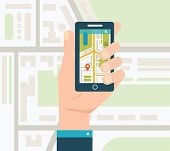 picture of gps  - Mobile gps navigation on mobile phone with map - JPG