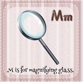foto of letter m  - Flashcard letter M is for magnifying glass - JPG