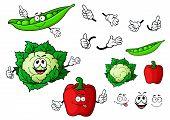 foto of peas  - Funny fresh cartoon cauliflower - JPG