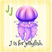 picture of letter j  - Flashcard letter J is for jellyfish - JPG