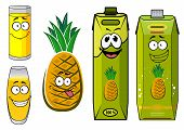 stock photo of tropical food  - Funny pineapple juice cartoon characters with green juice packs - JPG
