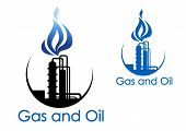 stock photo of gas-pipes  - Gas and oil industry symbol with extensive piping of industrial process plant with blue gas flames - JPG