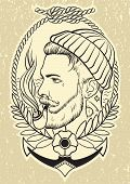 image of tobacco-pipe  - Hand drawn portrait of bearded and tattooed sailor with tobacco pipe - JPG