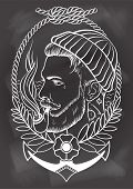 picture of tobacco-pipe  - Hand drawn portrait of bearded and tattooed sailor with tobacco pipe - JPG