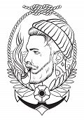 stock photo of tobacco-pipe  - Hand drawn portrait of bearded and tattooed sailor with tobacco pipe - JPG