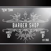 stock photo of barbershop  - Vintage barber shop window advertising design template - JPG