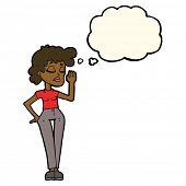 picture of ignorant  - cartoon woman ignoring with thought bubble - JPG