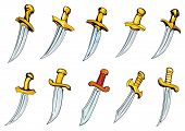 picture of adornment  - Adorned vintage daggers or poniards with golden handles and sharp blades in cartoon style for t - JPG