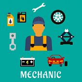 Постер, плакат: Mechanic profession flat concept with tools