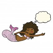 picture of mermaid  - cartoon mermaid with thought bubble - JPG