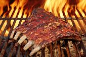 picture of baby back ribs  - Tasty Smoked Pork Spare Ribs On The Hot Flaming Barbecue Charcoal Grill - JPG