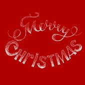 picture of merry christmas text  - Beautiful text design of Merry Christmas on red  background - JPG