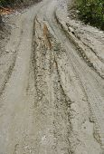 stock photo of mud  - closed up the mud path on village in Nepal - JPG