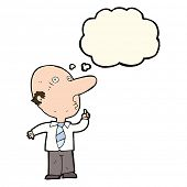 stock photo of bald man  - cartoon bald man asking question with thought bubble - JPG