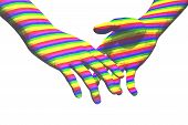 stock photo of holding hands  - gay couple relationship concept illustration 3d render - JPG