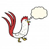 pic of cockerels  - cartoon cockerel with thought bubble - JPG