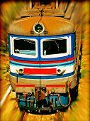 foto of locomotive  - The locomotive on the railroad - JPG