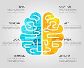 pic of right brain  - Brain function concept with left intellectual and right emotional hemispheres flat vector illustration - JPG