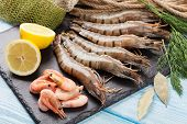 picture of tiger prawn  - Fresh raw tiger prawns and fishing equipment on wooden table - JPG