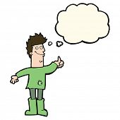 picture of positive thought  - cartoon positive thinking man in rags with thought bubble - JPG