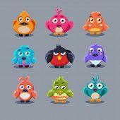 stock photo of angry bird  - Funny cartoon birds icons - JPG