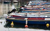 image of dock  - fishing boats moored in the dock of Lake Garda - JPG