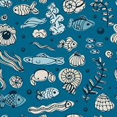 picture of shell-fishes  - Seamless sea pattern with fishes and shells - JPG
