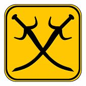 picture of longsword  - Crossed swords button on white background - JPG