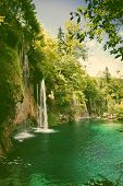 foto of waterfalls  - Plitvice lakes and waterfalls in Croatia  - JPG