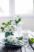 image of wedding table decor  - Table setting with white flowers - JPG