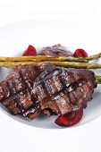 pic of white asparagus  - grilled red beef pork meat barbecue steak fillet with asparagus and hot pepper served on deep plate isolated on white background - JPG