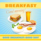 picture of motel  - Classic breakfast motel advertisement retro poster with ham sandwich and fried eggs bacon pictograms abstract vector illustration - JPG