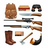 foto of survival  - Hunting tackle and equipment icons set with rifles knives and survival kit isolated vector illustration - JPG