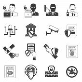 stock photo of malware  - Internet banking secure operations black icons set with detecting  hackers malware software shield abstract isolated vector illustration - JPG