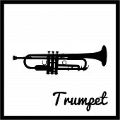 picture of trumpets  - Isolated silhouette of a trumpet - JPG