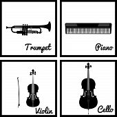 stock photo of wind instrument  - Set of silhouettes of musical instruments - JPG